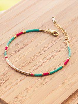 bracelet cherokee doré rouge turquoise