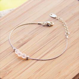 bracelet mia argent quartz rose