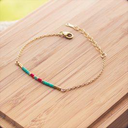 bracelet siou doré rouge turquoise